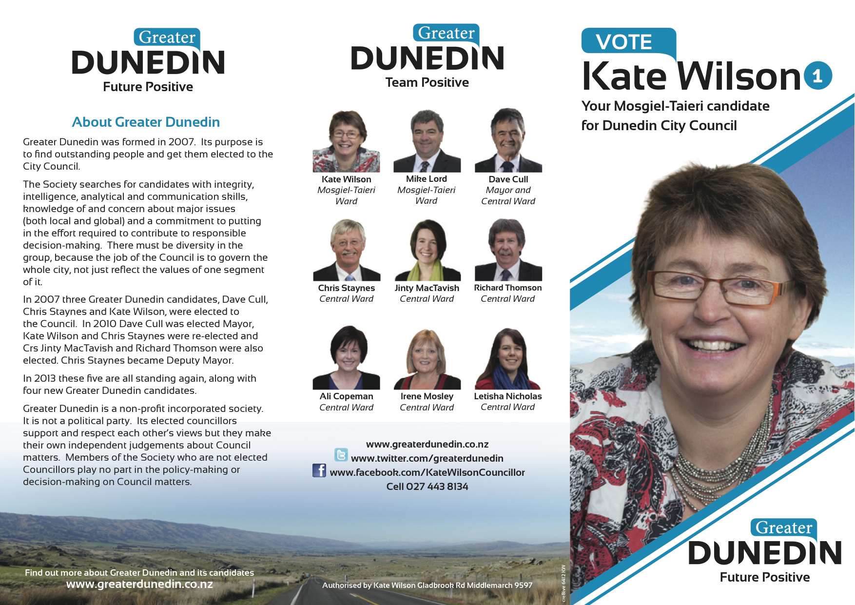 Kate Wilson Greater Dunedin 2013 Local Election – Election Brochure